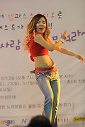 Dongdaemun Market. Dance show in front of Migliore shopping center.