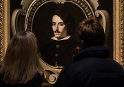 UNITED KINGDOM, London: 27 February 2018 Visitors take a close look at Bartolomé Esteban Murillo's 'Portrait of Count Diego Ortiz de Zúñiga' (about 1655) at the new exhibition entitled 'Murillo: The Self Portraits' at The National Gallery in London this morning. <br /> The exhibition marks the 400th anniversary of one of the most celebrated Spanish artists. <br /> Rick Findler  / Story Picture Agency