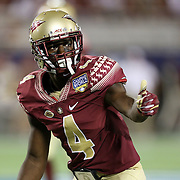 Florida State Seminoles defensive back Tarvarus McFadden (4) is seen during a NCAA football game between the Ole Miss Rebels and the Florida State Seminoles at Camping World Stadium on September 5, 2016 in Orlando, Florida. (Alex Menendez via AP)