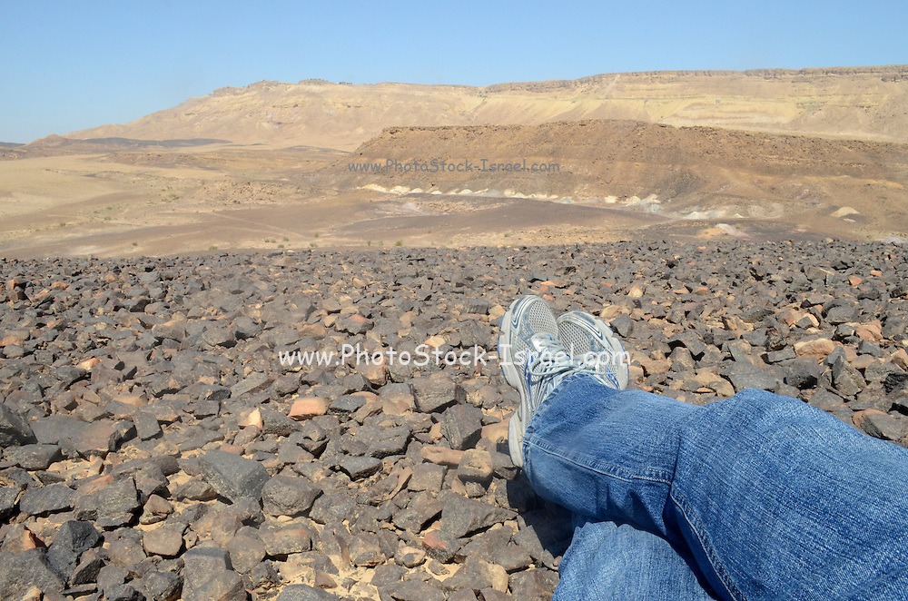 Ramon Crater, the world's largest karst erosion cirque, hikers in the crater