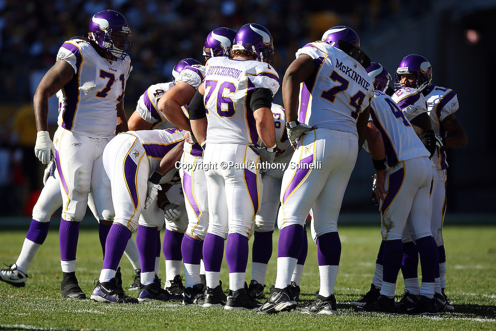 The Minnesota Vikings offense calls a play in the huddle during the NFL football game against the Pittsburgh Steelers, October 25, 2009 in Pittsburgh, Pennsylvania. The Steelers won the game 27-17. (©Paul Anthony Spinelli)