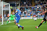 Peterborough United midfielder Marcus Maddison (21) pulls the ball back across the goal during the EFL Sky Bet League 1 match between Peterborough United and Portsmouth at London Road, Peterborough, England on 15 September 2018.