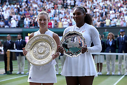 Angelique Kerber (left) and Serena Williams with their trophies after the Ladies Singles final on day twelve of the Wimbledon Championships at the All England Lawn Tennis and Croquet Club, Wimbledon. PRESS ASSOCIATION Photo. Picture date: Saturday July 14, 2018. See PA story TENNIS Wimbledon. Photo credit should read: Jonathan Brady/PA Wire. RESTRICTIONS: Editorial use only. No commercial use without prior written consent of the AELTC. Still image use only - no moving images to emulate broadcast. No superimposing or removal of sponsor/ad logos. Call +44 (0)1158 447447 for further information.
