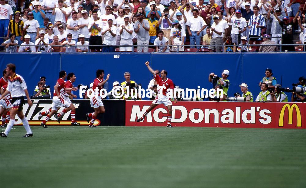 FIFA World Cup - USA 1994<br /> 10.7.1994, Giants Stadium, New York/New Jersey.<br /> World Cup Quarter Final, Bulgaria v Germany.<br /> Iordan Letchkov (arm raised) has scored the winner for Bulgaria.