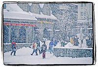 A heavy snowfall is welcome in the ski resort village of Whistler, BC Canada