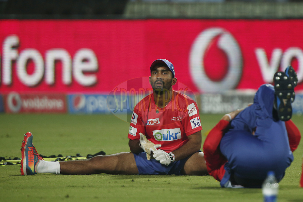 Dinesh Karthik of the Delhi Daredevils warm up during match 26 of the Pepsi Indian Premier League Season 2014 between the Delhi Daredevils and the Chennai Superkings held at the Ferozeshah Kotla cricket stadium, Delhi, India on the 5th May  2014<br /> <br /> Photo by Deepak Malik / IPL / SPORTZPICS<br /> <br /> <br /> <br /> Image use subject to terms and conditions which can be found here:  http://sportzpics.photoshelter.com/gallery/Pepsi-IPL-Image-terms-and-conditions/G00004VW1IVJ.gB0/C0000TScjhBM6ikg