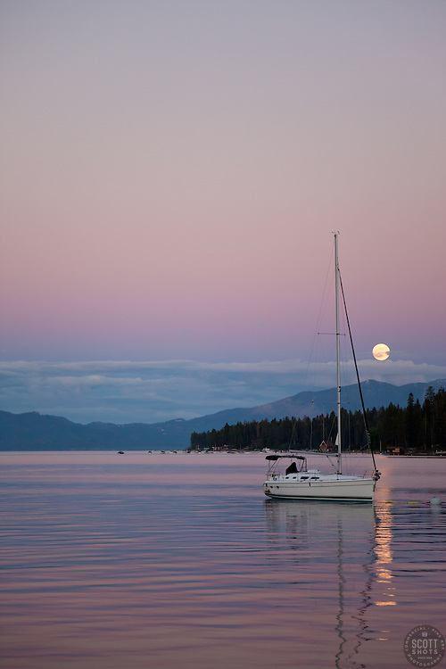 """Lake Tahoe Full Moon Sunset 1"" - This sailboat, full moon, and sunset were photographed from Obexer's Marina, Lake Tahoe."