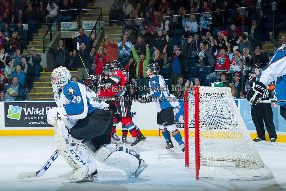 KELOWNA, CANADA - DECEMBER 7:  The Kelowna Rockets celebrate a goal against the Kootenay Ice on December 7, 2013 at Prospera Place in Kelowna, British Columbia, Canada.   (Photo by Marissa Baecker/Shoot the Breeze)  ***  Local Caption  ***