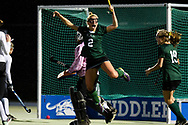 Rice's Lisa McNamara (2) celebrates after scoring a goal during the semifinal field hockey game between the Rice Green Knights and the Bellows Falls Terriers at Middlebury College on Monday afternoon October 29, 2018 in Middlebury. (BRIAN JENKINS/for the FRESS PRESS)