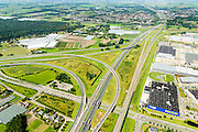 Nederland, Noord-Brabant, Breda, 23-08-2016; Knooppunt Princeville, verkeersknooppunt voor de aansluiting van de autosnelwegen A16 en A58. Half sterknooppunt. Ikea woonarenhuis.<br /> Princeville interchange or junction, near Breda, traffic hub for connecting the A16 and A58.<br /> <br /> luchtfoto (toeslag op standard tarieven);<br /> aerial photo (additional fee required);<br /> copyright foto/photo Siebe Swart