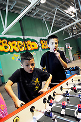 From left, Kevin Hernandez, 8, and Hugo Barraza, 10, have a safe place to play thanks to the Breadbox Recreation Center, a City of Salinas facility. The same building houses Second Chance and the Alisal Center for Fine Arts.