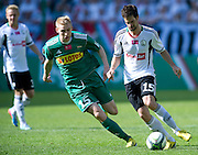 (R) Legia's Inaki Astiz Ventura fights for the ball with (R) Lechia's Adam Duda during T-Mobile Extraleague soccer match between Legia Warsaw and Lechia Gdansk at Pepsi Arena in Warsaw, Poland...Poland, Warsaw, May 05, 2013..Picture also available in RAW (NEF) or TIFF format on special request...For editorial use only. Any commercial or promotional use requires permission...Photo by © Adam Nurkiewicz / Mediasport