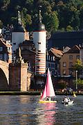 Alte Brücke, Neckar, Segelboot, Heidelberg, Baden-Württemberg, Deutschland