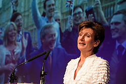 ©  London News Pictures. 17/09/2016. Bournemouth, UK. Party leader DIANE JAMES delivers her closing speech at Day  2 of the 2016 UKIP Autumn Conference, held at the Bournemouth International Centre in Bournemouth, Dorset. On Friday, the party elected Diane James as their new leader, following Nigel Farage resignation after the UK voted to leave the EU in a referendum..  Photo credit: Ben Cawthra/LNP