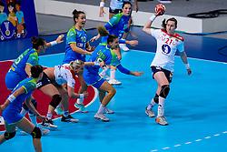 02-12-2019 JAP: Slovenia - Norway, Kumamoto<br /> Second day 24th IHF Womenís Handball World Championship, Slovenia lost the second match against Norway with 20 - 36. / Nina Zabjek #9 of Slovenia, BAKKERUDIngvild Kristiansen of Norway