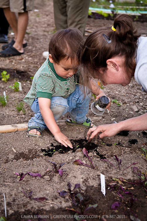 Ayoung boy helps his mother plant tender vegetable seedlings in their community garden plot.