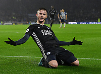 Football - 2019 / 2020 Premier League - Brighton & Hove Albion vs. Leicester City<br /> <br /> Leicester City's James Maddison celebrates putting the ball in after Jamie Vardy's penalty is saved, but the penalty is retaken with Vardy scoring after encroachment, at The Amex.<br /> <br /> COLORSPORT/ASHLEY WESTERN