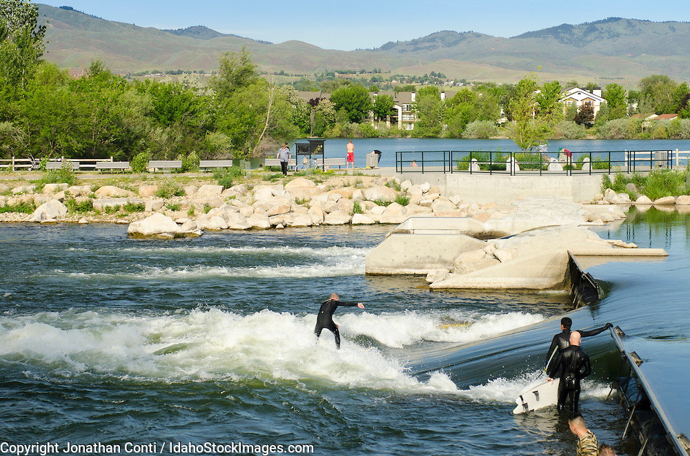 Surfing in the Boise Whitewater Park along the Greenbelt