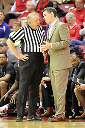 28 January 2015:   Daniel Chrisman and Paul Lusk chat just before the start of the game at an NCAA MVC (Missouri Valley Conference) men's basketball game between the Missouri State Bears and the Illinois State Redbirds at Redbird Arena in Normal Illinois