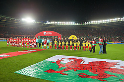 VIENNA, AUSTRIA - Thursday, October 6, 2016: Wales and Austria players line-up before the 2018 FIFA World Cup Qualifying Group D match at the Ernst-Happel-Stadion. (Pic by David Rawcliffe/Propaganda)
