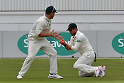 Riki Wessels catches Adam Rouse (not shown) off Steven Mullaney (not shown) watched bt Brendan Taylor during the Specsavers County Champ Div 2 match between Nottinghamshire County Cricket Club and Kent County Cricket Club at Trent Bridge, West Bridgford, United Kingdom on 26 June 2017. Photo by Simon Trafford.