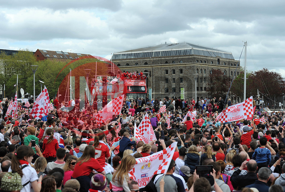 The Bristol City celebration tour buses arrive at Lloyds Amphitheatre - Photo mandatory by-line: Dougie Allward/JMP - Mobile: 07966 386802 - 04/05/2015 - SPORT - Football - Bristol -  - Bristol City Celebration Tour