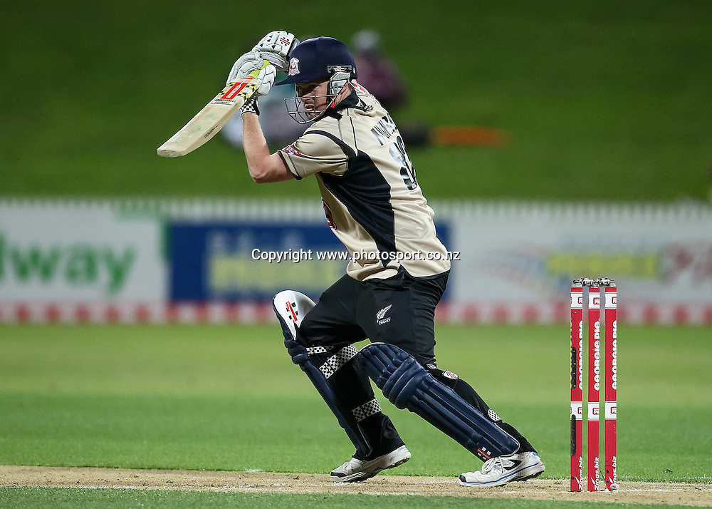 North Island's Colin Munro batting during the Island of Origin T20 cricket game - North v South, 31 October 2014 played at Seddon Park, Hamilton, New Zealand on Friday 31 October 2014.  Photo: Bruce Lim / www.photosport.co.nz