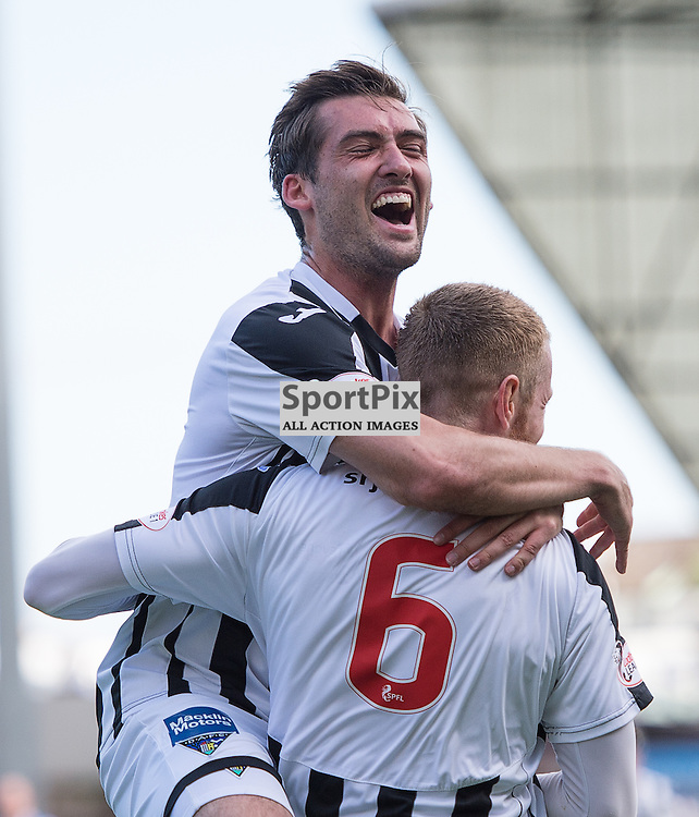 Dunfermline Athletic v Stranraer, SPFL League One, East End Park, 29 August 2015<br /> Michael Paton celebrates with Andy Geggan after Dunfermlines third goal during the SPFL League One encounter between Dunfermline and Stranraer.<br /> ROSS PARKER | SportPix.org.uk