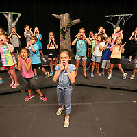"Annelise Fagan leads the roar during the opening scene of their play ""Born to be Wild"" as nearly 75 children take part in this weeks annual Tupelo Community Theatre summer youth camp."
