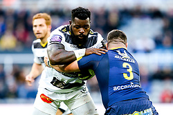 Dany Priso of La Rochelle is tackled by Rabah Slimani of ASM Clermont Auvergne - Mandatory by-line: Robbie Stephenson/JMP - 10/05/2019 - RUGBY - St James' Park - Newcastle, England - ASM Clermont Auvergne v La Rochelle - European Rugby Challenge Cup Final