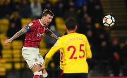 Aden Flint of Bristol City heads the ball - Mandatory by-line: Robbie Stephenson/JMP - 06/01/2018 - FOOTBALL - Vicarage Road - Watford, England - Watford v Bristol City - Emirates FA Cup third round proper