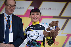 Lisa Brennauer (GER) of CANYON//SRAM Racing celebrates wearing the best climber's jersey after the prologue of the Lotto Thuringen Ladies Tour - a 6.1 km individual time trial, starting and finishing in Gera on July 12, 2017, in Thuringen, Germany. (Photo by Balint Hamvas/Velofocus.com)