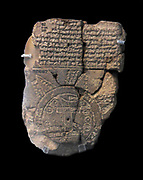 A unique ancient map of the Mesopotamian world.  This tablet contains bth a cuneiform inscription and a unique map of the Mesopotamian world.  Babylon is shown in the centre (the rectangle in the top half of the circle), and Assyria, Elam and other places are also named.  The central area is ringed by a circular waterway labelled 'Region' or 'Island' and marked with the distance in between.