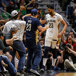 The Pelicans defeated the Celtics 108-89.Mar 18, 2018; New Orleans, LA, USA; New Orleans Pelicans forward Anthony Davis (23) celebrates with fans after a basket during the second half against the Boston Celtics at the Smoothie King Center. The Pelicans defeated the Celtics 108-89. Mandatory Credit: Derick E. Hingle-USA TODAY Sports