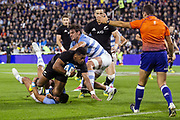 Buenos Aires (Bs. As. Province, ARGENTINA), September 29, 2018: Waisake Naholo from All Blacks runs to the try during the International rugby match during the Rugby Championship between Argentina v New Zealand at José Amalfitani Stadium, on Saturday, September 29, 2018 in Buenos Aires, Argentina. <br /> Copyright photo: Pablo A. Gasparini / www.photosport.nz