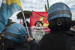 February 5, 2018 - Rome, Rome, Italy - Europe, Italy, Rome, February 5, 2018: Kurdish protesters clash with Italian Police during a demonstration against the visit of Turkish president Recep Tayyip Erdogan.The Turkish President today meets Pope Francis, Italian President Mattarella, Prime Minister Gentiloni and a group of industrialists (Credit Image: © Danilo Balducci via ZUMA Wire)