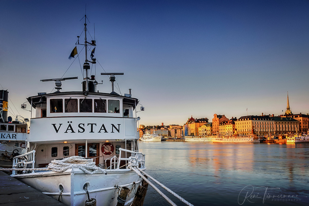 Västan, an archipelago boat is docked in central Stockholm