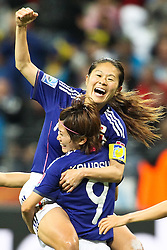 13.07.2011, Commerzbank Arena, Frankfurt, GER, FIFA Women Worldcup 2011, Halbfinale,  Japan (JPN) vs. Schweden (SWE), im Bild.Torjubel / Jubel  nach dem 2:1 durch Homare Sawa (Japan) (M) mit Saki Kumagai (Japan) und Aya Sameshima (Japan) (L) und Yukari Kinga (Japan) (R).. // during the FIFA Women´s Worldcup 2011, Semifinal, Japan vs Sweden on 2011/07/13, Commerzbank Arena, Frankfurt, Germany.   EXPA Pictures © 2011, PhotoCredit: EXPA/ nph/  Mueller       ****** out of GER / CRO  / BEL ******