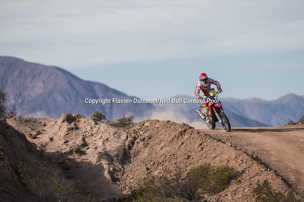 Joan Barreda races during stage 3 of Rally Dakar 2015 from San Juan to Chilecito, Argentina on January 6th, 2015 // Flavien Duhamel/Red Bull Content Pool // P-20150106-00057 // Usage for editorial use only // Please go to www.redbullcontentpool.com for further information. //