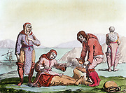 Natives of the Arctic, dressed in animal skins, using a thong drill to make fire (blister method). From 'Costume Antico et Moderno', Rome, 1825-35