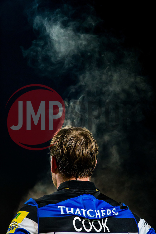 Steam rises from Chris Cook of Bath Rugby as he looks on - Rogan/JMP - 05/01/2018 - RUGBY UNION - Sixways Stadium - Worcester, England - Worcester Warriors v Bath Rugby - Aviva Premiership.