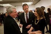 PROF STEPHEN BUCKLEY; SIR NICHOLAS SEROTA;  ELIZABETH GILMORE,  Opening reception of the Jerwood Gallery. The Stade, Hastings. 16 March 2012.