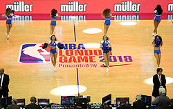The Philadelphia 76ers Dancers during the NBA London Game 2018 at the O2 Arena, London.