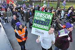© Licensed to London News Pictures. 30/11/2011. Nottingham, UK. Demonstrators march through Nottingham today (Weds) as part of nationally coordinated industrial action. Protesters gathered at Forest Fields recreation ground before marching through the city and holding a rally at The Albert Hall. Photo credit : Tim Goode/LNP