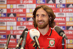CARDIFF, WALES - Tuesday, November 8, 2016: Wales' Joe Allen during a press conference at the Vale Resort ahead of the 2018 FIFA World Cup Qualifying Group D match against Serbia. (Pic by David Rawcliffe/Propaganda)