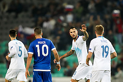 Amir Dervisevic of Slovenia and Robert Beric of Slovenia celebrate during football match between National Teams of Slovenia and Cyprus in Final Tournament of UEFA Nations League 2019, on October 16, 2018 in SRC Stozice, Ljubljana, Slovenia. Photo by  Morgan Kristan / Sportida