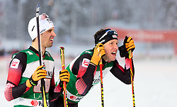 20.02.2016, Salpausselkae Stadion, Lahti, FIN, FIS Weltcup Nordische Kombination, Lahti, Team Sprint, Langlauf, im Bild v.l.: Lukas Klapfer (AUT), Bernhard Gruber (AUT) // f.l.: Lukas Klapfer of Austria, Bernhard Gruber of Austria reacts during Cross Country Team Sprint Race of FIS Nordic Combined World Cup, Lahti Ski Games at the Salpausselkae Stadium in Lahti, Finland on 2016/02/20. EXPA Pictures © 2016, PhotoCredit: EXPA/ JFK