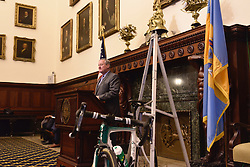 Kicking off the 2016 Philadelphia International Cycling Classic bike race weekend Mayor JIM KENNEY speaks during a June 3rd, 2016 press conference at CityHall, Philadelphia Pennsylvania. Pro-cyclist will compete at a 73.8miles/118.7km course for the UCI Women's World Tour and 110.7miles/178.2km for the UCI 1.1 Men's America Tour during the Philadelphia Cycling Classic on Sunday June 5th, 2016.