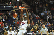 Ole Miss's Murphy Holloway dunks vs South Carolina on Wednesday, January 20, 2010 in Oxford, Miss.