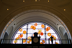Monarch Window of glass art by Dale Chihuly, Union Station, Tacoma, Washington, USA
